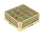 Vollrath TR-8DD-08 Full-Size Glassware Rack - 16-Compartment, 2-Extenders, Yellow