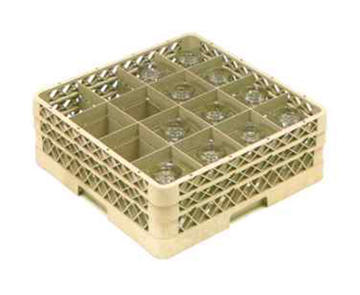 Vollrath TR-8DD Full-Size Glassware Rack - 16-Compartment, 2-Extenders, Beige