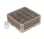 Vollrath TR-8DDDD Full-Size Glassware Rack - 16-Compartment, 4-Extenders, Beige