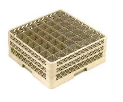 Vollrath TR-9EE-08 Full-Size Glassware Rack - 49-Compartment, 2-Extenders, Yellow
