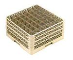 Vollrath TR-9EEE-08 Full-Size Glassware Rack - 49-Compartment, 3-Extenders, Yellow