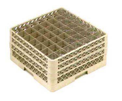 Vollrath TR-9EEE Full-Size Glassware Rack - 49-Compartment, 3-Extenders, Beige