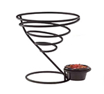 "Vollrath WC-6009-06 7"" Wire Cone Basket with Ramekin Holder - Black"
