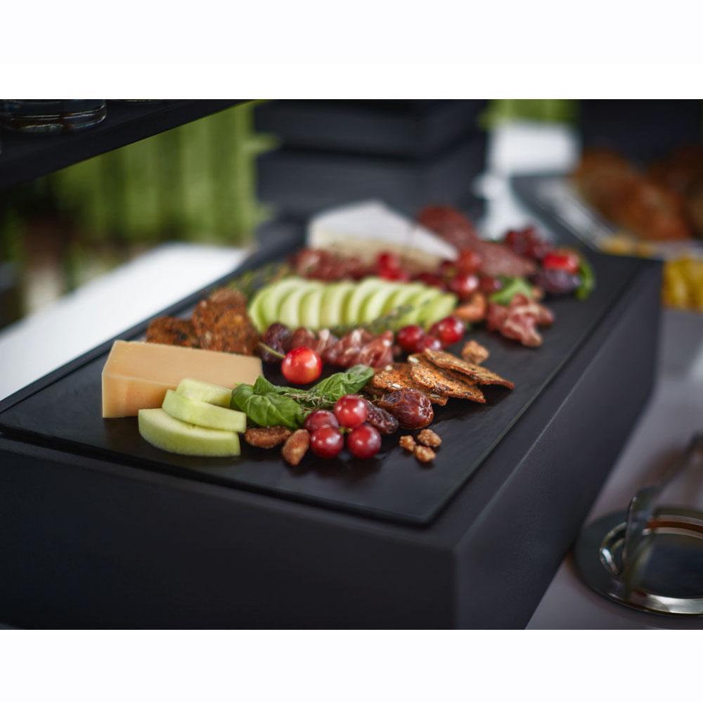 "Vollrath V904200 Rectangular Base for Food Pan - 22.43"" x 14.56"" x 5.68"", Wood, Black"
