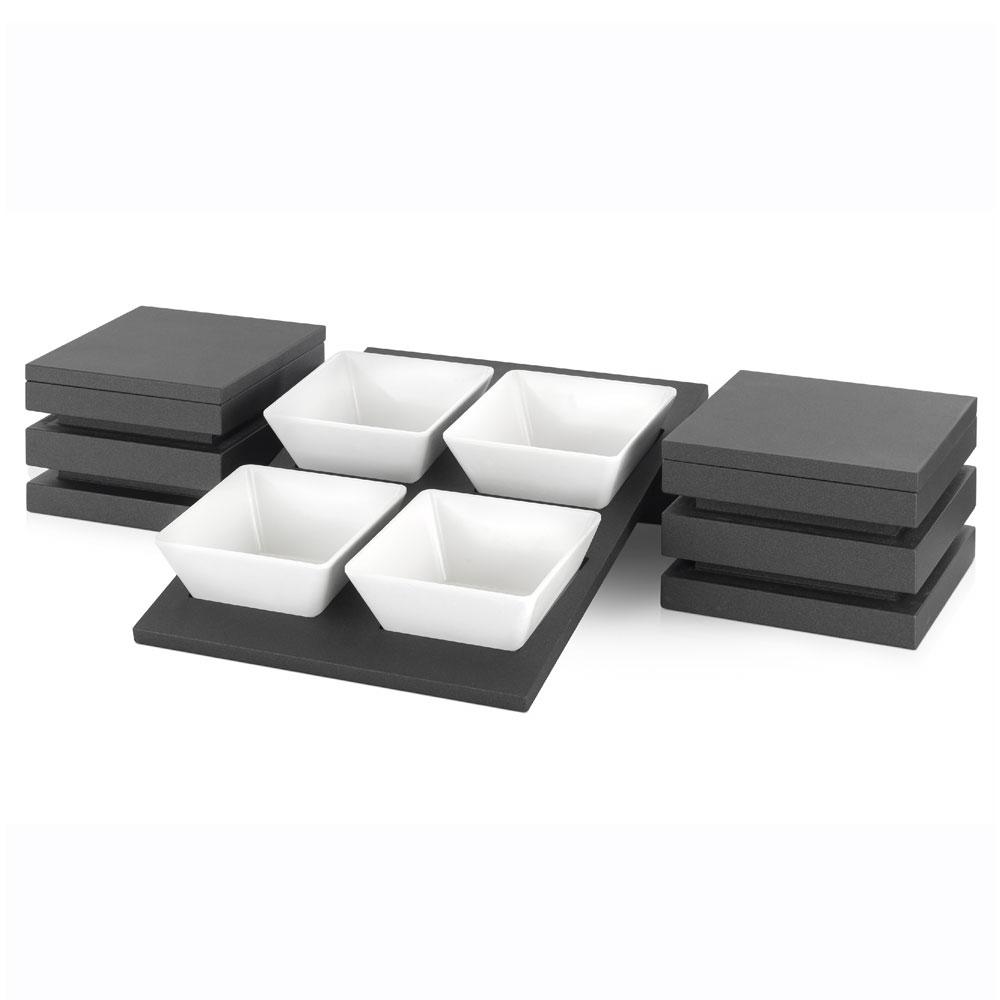 "Vollrath V904600 Stackable Riser Cube w/ Lid - 9"" x 6.5"", Wood, Black"