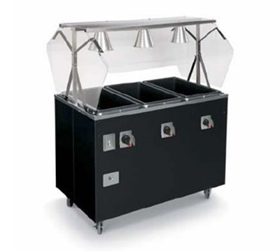 Vollrath T38936 3-Well Hot Food Station - Open Base, Thermostat, Manifold Drain, Walnut120v