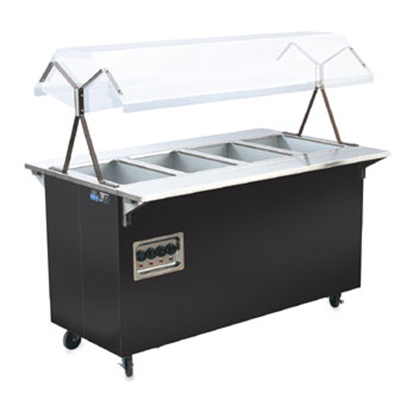 "Vollrath 38711 4-Well Hot Food Station - Breath Guard, Open Base, 60x24x57"" Black 120v"