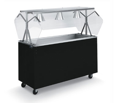 Vollrath 38713 3-Well Cold Food Station - Breath Guard, Non-Refrigerated, Black Solid Base