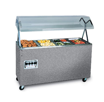 Vollrath 3872846 3-Well Hot Food Station - Lights, Breath Guard, Open Base, Granite 120v