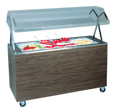 Vollrath 3873346 3-Well Cold Food Station - Lights, Guard, Non-Refrigerated, Solid Base, Granite