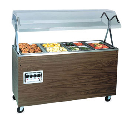Vollrath 3876946 3-Well Hot Food Station - Lights, Breath Guard, Storage Base, Cherry 120v