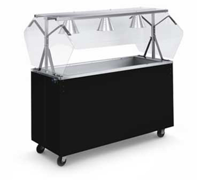Vollrath 3895246 3-Well Cold Food Station - Lights, Guard, Non-Refrigerated, Storage Base, Walnut