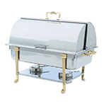Vollrath 46051 9-qt Oblong Chafer - Full-Size, Brass Trim, Roll-Top Cover, Stainless