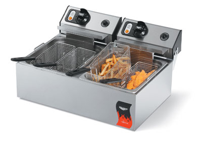 Vollrath 40708 Countertop Electric Fryer - (2) 10-lb Vat, 220v/1ph