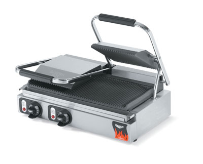Vollrath 40795 Panini Sandwich Press - Grooved, Cast-Iron Plates, Thermostat, Stainless 220v
