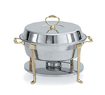 Vollrath 46030 6-qt Round Chafer - Brass-Trim, Rack and Food/Water Pans, Fuel Holder, Stainless