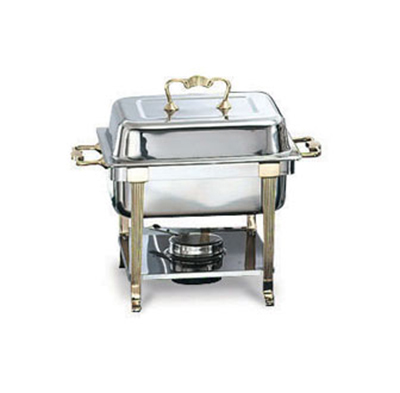 Vollrath 46035 4.3-qt Half-Size Chafer - Brass-Trim, Rack and Food/Water Pans, Dome Cover