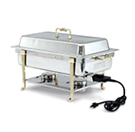 Vollrath 46045 9-qt Oblong Chafer - Full-Size, Short-End Plug, Brass-Trim, Stainless