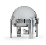 Vollrath 46070 6-qt Round Roll-Top Chafer - Brass Trim, Stainless