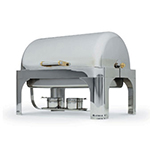 Vollrath 48780 9-qt Oblong Chafer - Roll-Top, Brass Accent, Silverplated