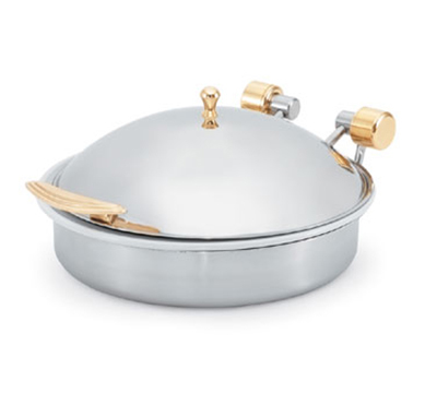 Vollrath 46121 6-qt Round Solid Top Induction Chafer - Brass Trim, Stainless