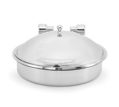 Vollrath 46122 6-qt Round Solid Top Induction Chafer - Porcelain Food Pan, Stainless