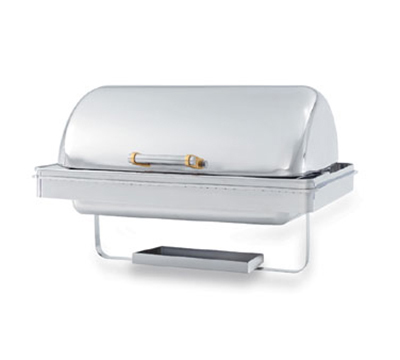 Vollrath 48758 9-qt Retractable Rectangle Chafer Drop-In - Brass Accent, Silverplated
