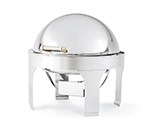 Vollrath 46265 6-qt Round Chafer - Brass-Trim, Dome Cover, Stainless