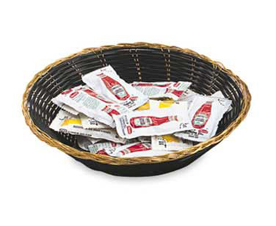 "Vollrath 47208 9-1/2"" Oval Cracker Basket - Black Vinyl"