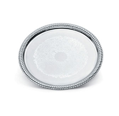 "Vollrath 47262 14"" Round Serving Tray - Brass Accent, Chrome"