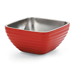 Vollrath 47634-55 3.2-qt Square Insulated Bowl - Stainless, Fire Engine Red