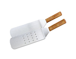 "Vollrath 48082 14"" Perforated Hamburger Turner - Wood Handle, Chrome Stainless"