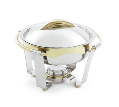 Vollrath 48323 4.2-qt Round Chafer - 24K Gold Accent, Mirror-Finish Stainless