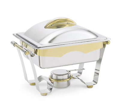 Vollrath 48329 4.1-qt Half-Size Chafer - 24K Gold Accent, Mirror-Finish Stainless