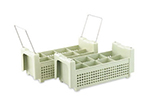 Vollrath 52641 Flatware Basket with Handle - 8-Compartment, Green