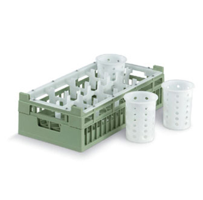 Vollrath 52808 1 Dishwasher Rack - 8-Compartment, Medium, Half-Size, Green