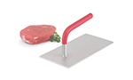 Vollrath 56852 Flat Steak Weight - 1.6-lbs, Red Plastic-Coated Handle, Stainless