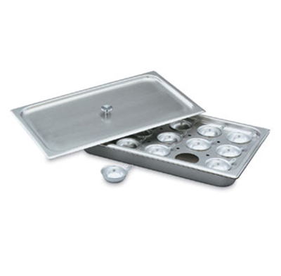 Vollrath 75070 Egg Poacher/Juice Glass Holder - 1/2-Size, Pan, Plate, Cover, 8 Cups, Stainless