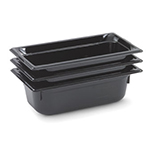 "Vollrath 8046420 1/4 Size Food Pan - 6"" Deep, Low-Temp, Black Poly"