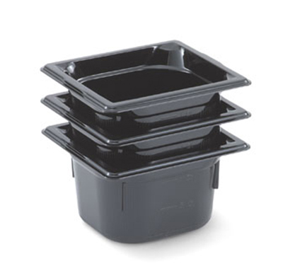 "Vollrath 8064420 1/6 Size Food Pan - 4"" Deep, Low-Temp, Black Poly"