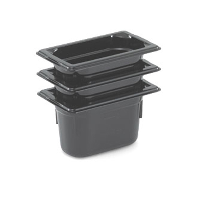 "Vollrath 8092420 1/9 Size Food Pan - 2-1/2"" Deep, Low-Temp, Black Poly"