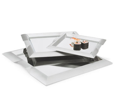 "Vollrath 82092 18-1/2"" Square Serving Tray - Handles, Stainless"