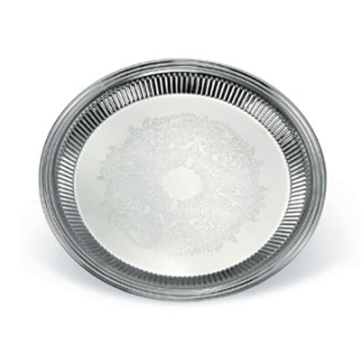 "Vollrath 82168 12"" Round Fluted Serving Tray - Stainless"