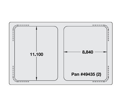 Vollrath 8243016 Miramar Single-Size Template - (2) Small Food Pans, Satin-Edge Stainless