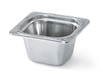 "Vollrath 8264205 Miramar 1/6 Size Foodpan - 4"" Deep, Mirror-Finish Stainless"