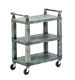 Vollrath 97112 3-Shelf Utility Cart - 200-lb Capacity, Open Ends, Gray Plastic