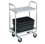 "Vollrath 97160 2-Shelf Utility Cart - 400-lb Capacity, 28x16x36"" Chrome-Plated Stainless"