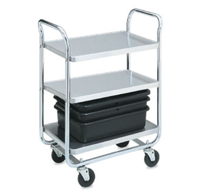"Vollrath 97167 3-Shelf Utility Cart - 500-lb Capacity, 40-1/2x21x36-1/4"" Chrome-Plated Stainless"