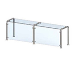 Vollrath CB98627 Breath Guard with Top Shelf for 5-Well Single Sided Cafeteria - Glass/Stainless