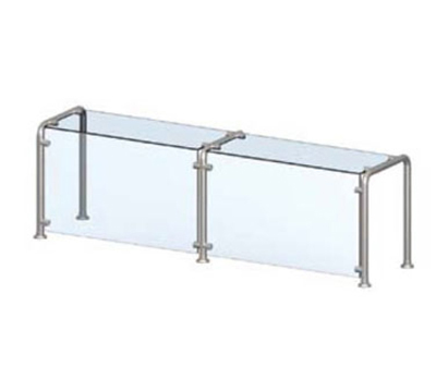 Vollrath 98628 Breath Guard with Top Shelf for 6-Well Cafeteria Unit - Glass/Stainless